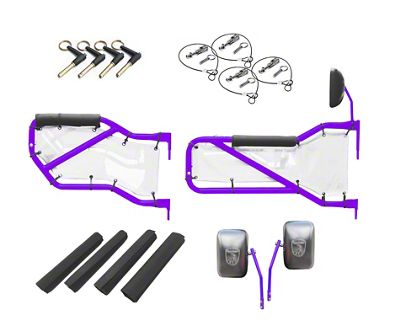 Steinjager Front & Rear Tube Doors - Sinbad Purple & White Mesh (07-18 Jeep Wrangler JK 4 Door)
