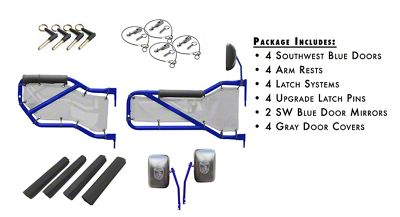 Steinjager Front & Rear Tube Doors - Southwest Blue & Gray Mesh (07-18 Jeep Wrangler JK 4 Door)