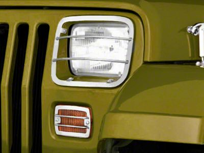 Rugged Ridge 4-Piece Headlight & Turn Signal Euro Guard Kit - Stainless Steel (87-95 Jeep Wrangler YJ)