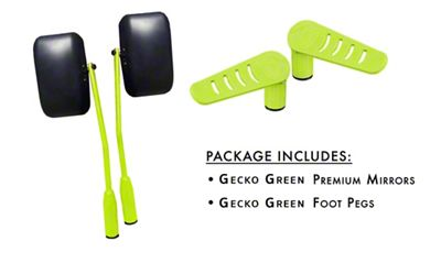 Steinjager Premium Mirror & Foot Peg Kit - Gecko Green (07-18 Jeep Wrangler JK)