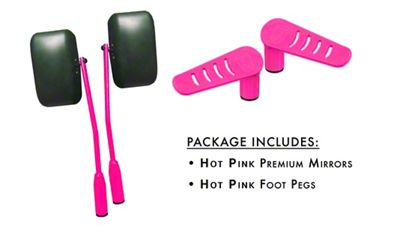 Steinjager Premium Mirror & Foot Peg Kit - Hot Pink (07-18 Jeep Wrangler JK)