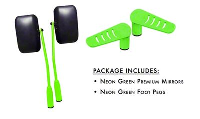 Steinjager Premium Mirror & Foot Peg Kit - Neon Green (07-18 Jeep Wrangler JK)