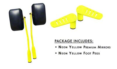 Steinjager Premium Mirror & Foot Peg Kit - Neon Yellow (07-18 Jeep Wrangler JK)