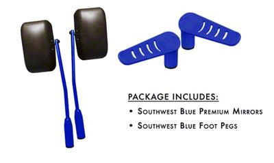 Steinjager Premium Mirror & Foot Peg Kit - Southwest Blue (07-18 Jeep Wrangler JK)