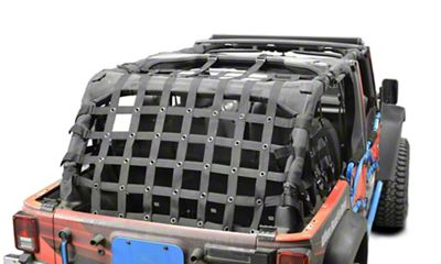 Steinjager Rear Teddy Top Premium Cargo Net - Black (07-18 Jeep Wrangler JK 4 Door)