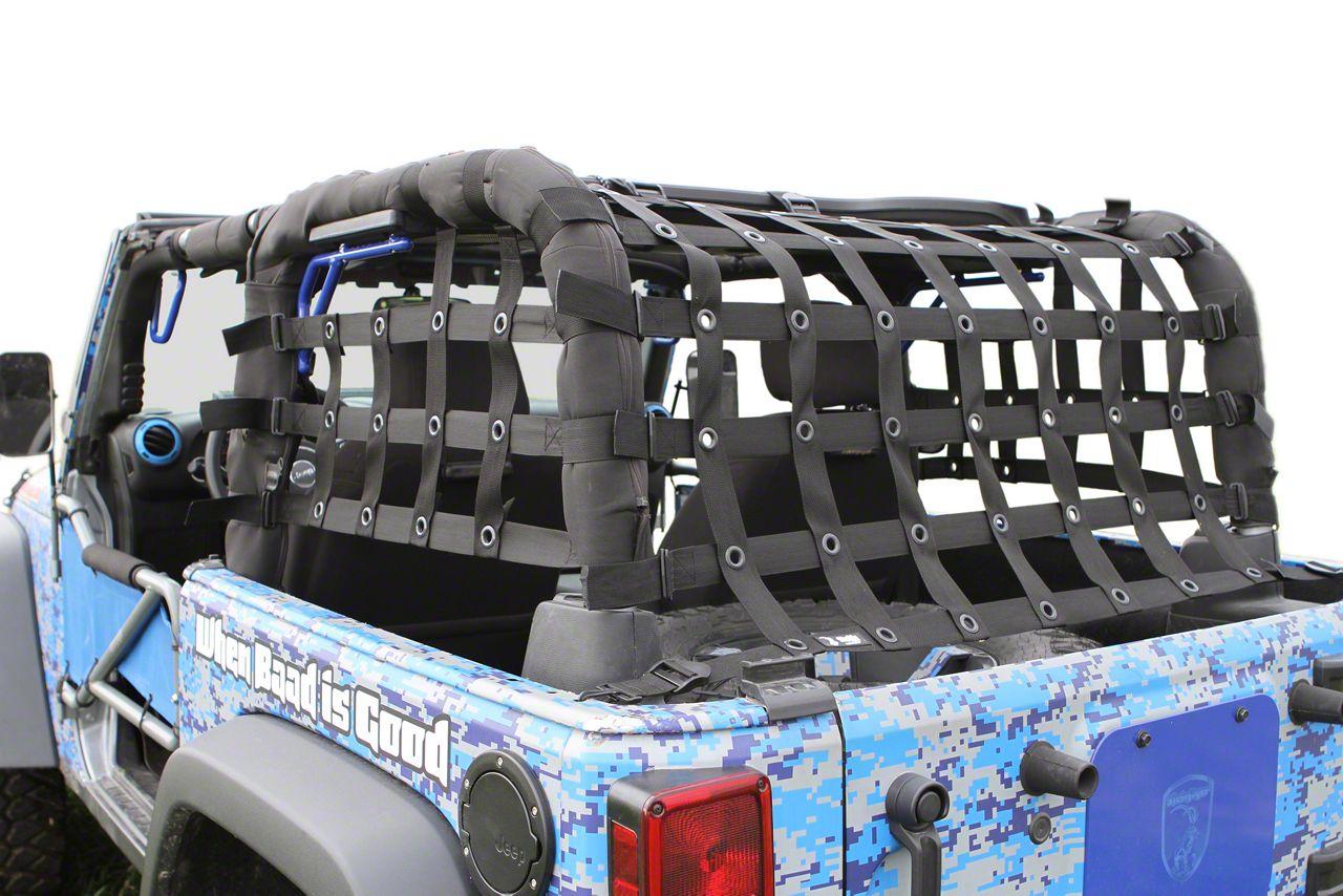 Steinjager Rear Teddy Top Premium Cargo Net - Black (07-18 Jeep Wrangler JK 2 Door)