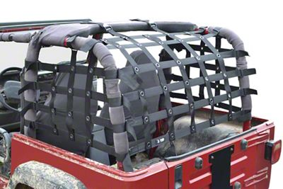 Steinjager Rear Teddy Top Premium Cargo Net - Black (97-06 Jeep Wrangler TJ, Excluding Unlimited)