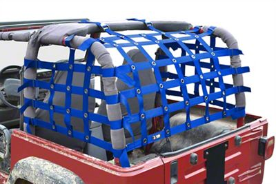 Steinjager Rear Teddy Top Premium Cargo Net - Blue (97-06 Jeep Wrangler TJ, Excluding Unlimited)