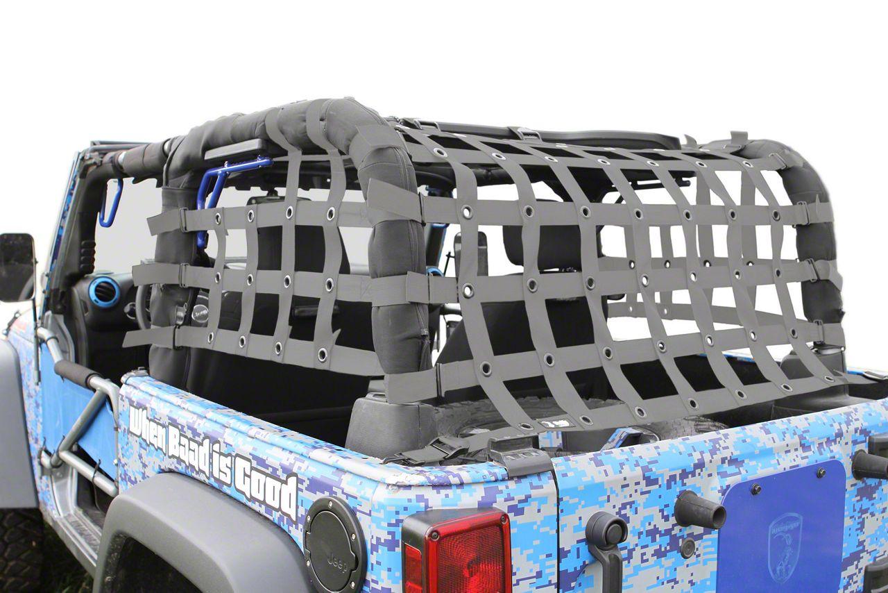 Steinjager Rear Teddy Top Premium Cargo Net - Gray (07-18 Jeep Wrangler JK 2 Door)