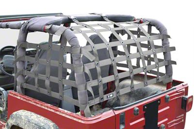 Steinjager Rear Teddy Top Premium Cargo Net - Gray (97-06 Jeep Wrangler TJ, Excluding Unlimited)