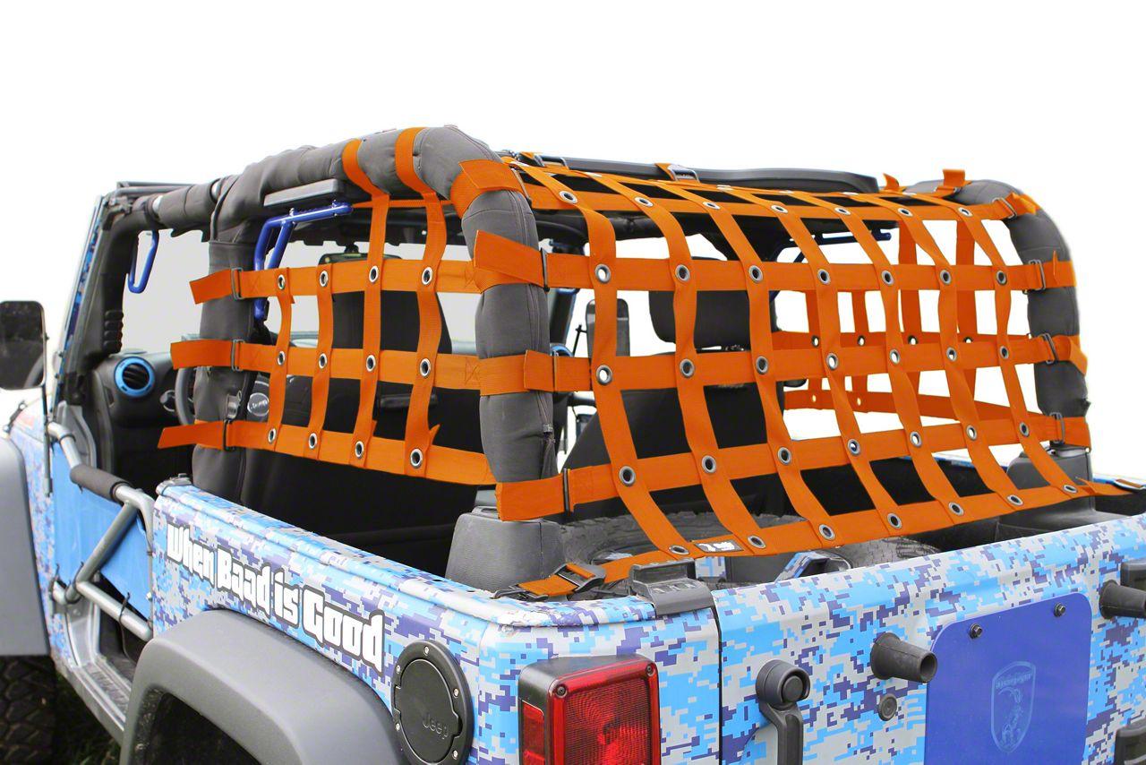 Steinjager Rear Teddy Top Premium Cargo Net - Orange (07-18 Jeep Wrangler JK 2 Door)