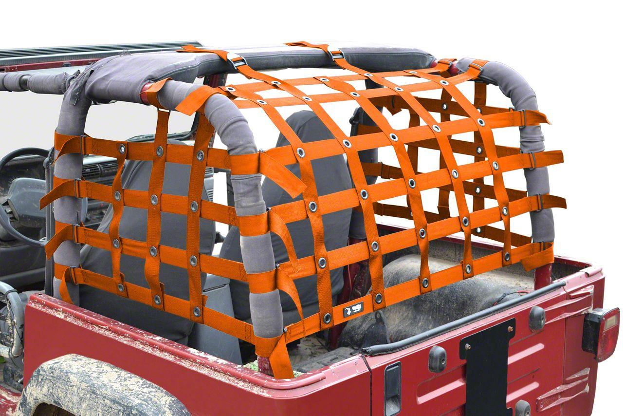 Steinjager Rear Teddy Top Premium Cargo Net - Orange (97-06 Jeep Wrangler TJ, Excluding Unlimited)