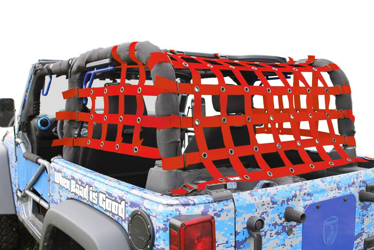 Steinjager Rear Teddy Top Premium Cargo Net - Red (07-18 Jeep Wrangler JK 2 Door)