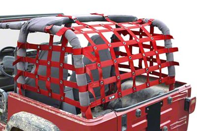 Steinjager Rear Teddy Top Premium Cargo Net - Red (97-06 Jeep Wrangler TJ, Excluding Unlimited)