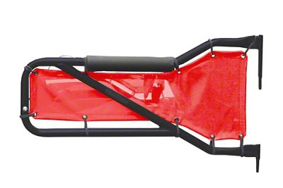 Steinjager Rear Tube Doors - Black & Red Mesh (07-18 Jeep Wrangler JK 4 Door)
