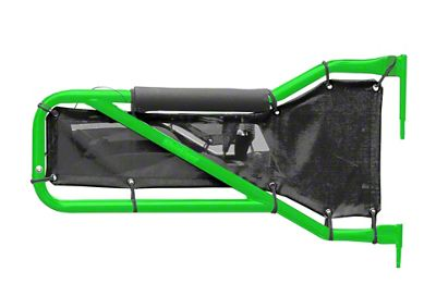 Steinjager Rear Tube Doors - Neon Green & Black Mesh (07-18 Jeep Wrangler JK 4 Door)