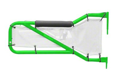 Steinjager Rear Tube Doors - Neon Green & White Mesh (07-18 Jeep Wrangler JK 4 Door)