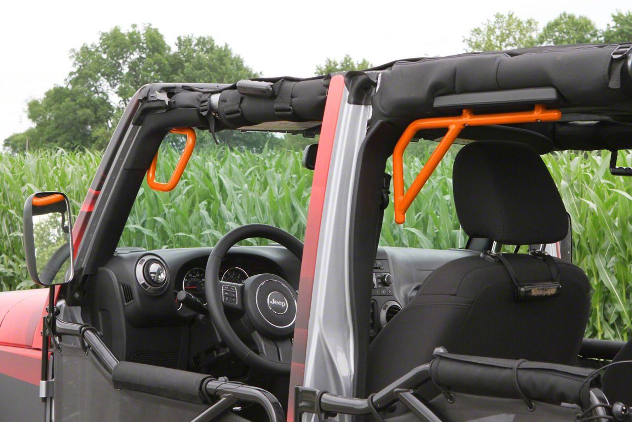 Steinjager Rigid Wire Form Front & Rear Grab Handles - Fluorescent Orange (07-18 Jeep Wrangler JK 4 Door)