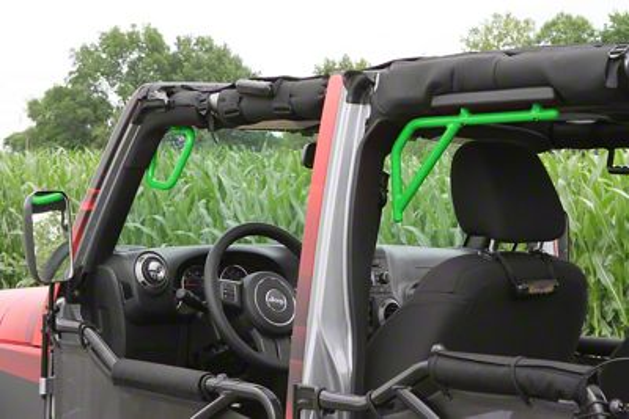 Steinjager Rigid Wire Form Front & Rear Grab Handles - Neon Green (07-18 Jeep Wrangler JK 4 Door)