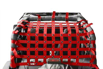 Steinjager Teddy Top Cargo Net Kit - Red (87-95 Jeep Wrangler YJ)
