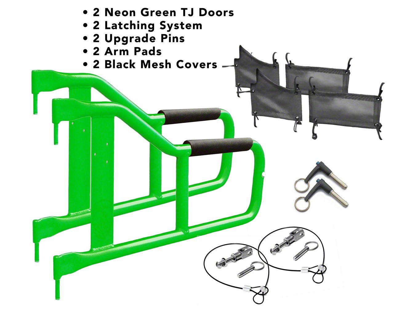 Steinjager Tube Doors - Neon Green & Black Mesh (97-06 Jeep Wrangler TJ)