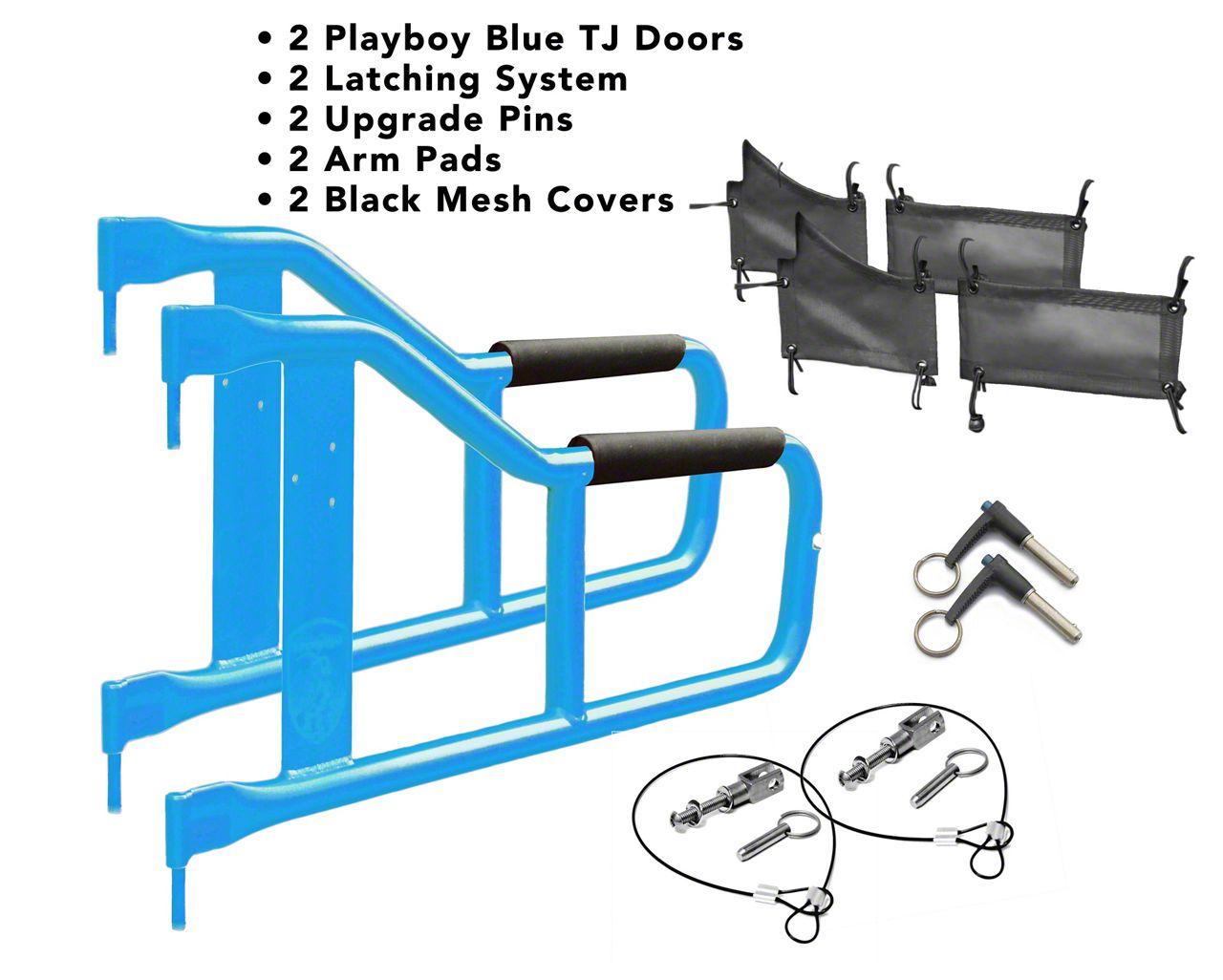 Steinjager Tube Doors - Playboy Blue & Black Mesh (97-06 Jeep Wrangler TJ)