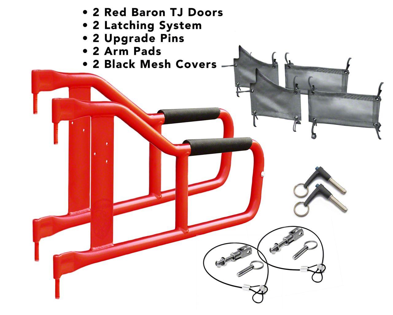 Steinjager Tube Doors - Red Baron & Black Mesh (97-06 Jeep Wrangler TJ)