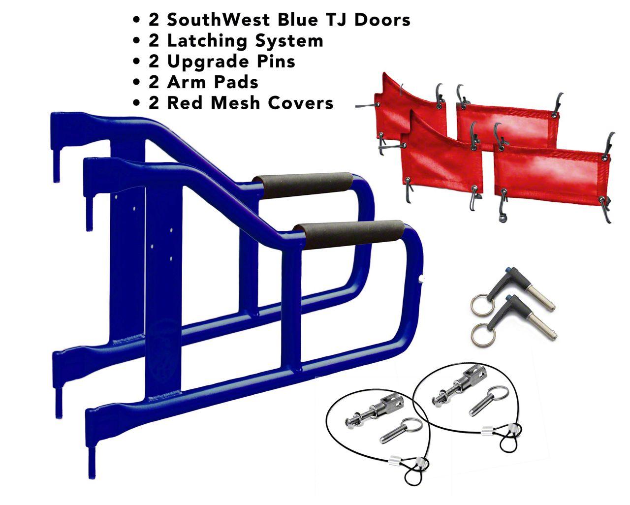 Steinjager Tube Doors - Southwest Blue & Red Mesh (97-06 Jeep Wrangler TJ)