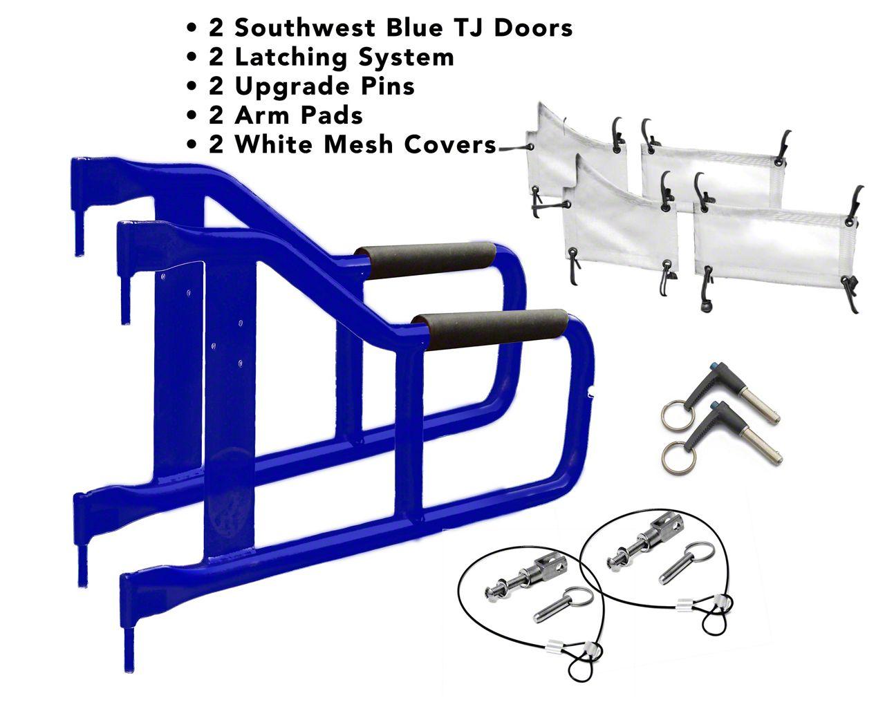 Steinjager Tube Doors - Southwest Blue & White Mesh (97-06 Jeep Wrangler TJ)