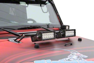 Steinjager Two 8 in. LED Light Bars w/ Hood Hinge Mounting Brackets - Black (07-18 Jeep Wrangler JK)