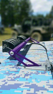 Steinjager Two 8 in. LED Light Bars w/ Hood Hinge Mounting Brackets - Sinbad Purple (07-18 Jeep Wrangler JK)