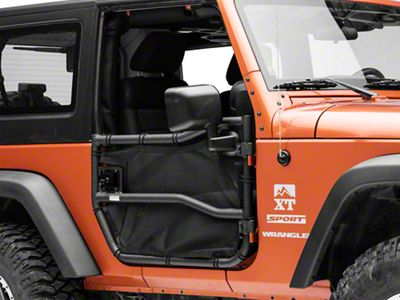 Rugged Ridge Front Tube Doors w/ Eclipse Cover Kit, Front; 07-18 JK (07-18 Jeep Wrangler JK)