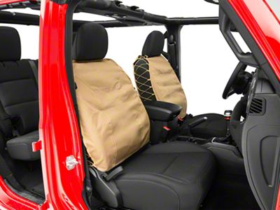 Smittybilt G.E.A.R. Front Seat Covers - Coyote Tan (87-19 Jeep Wrangler YJ, TJ, JK & JL)
