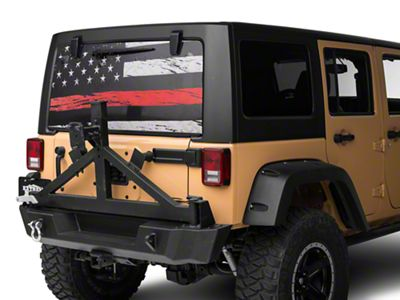 Perforated Real Flag Rear Window Decal w/ Red Line (87-19 Jeep Wrangler YJ, TJ, JK & JL)