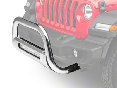 Barricade HD Bull Bar w/ Skid Plate & 20 in. Dual Row LED Light Bar - Stainless Steel (18-19 Jeep Wrangler JL)
