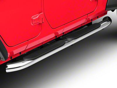 RedRock 4x4 4 in. Oval Curved Side Step Bars - Stainless Steel (18-19 Jeep Wrangler JL 4 Door)