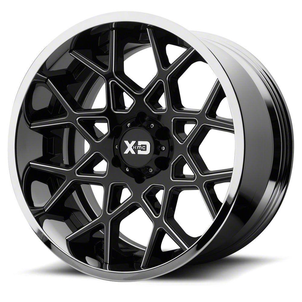XD Chopstix Gloss Black Milled w/ Chrome Lip Wheel - 20x10 (18-19 Jeep Wrangler JL)