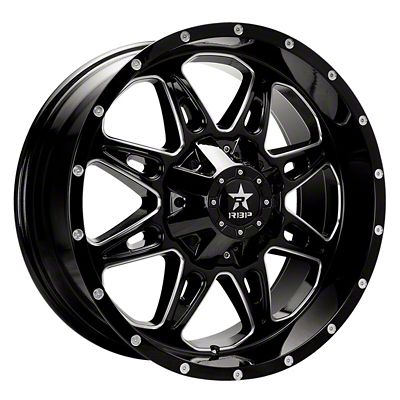 RBP 67R AK-8 Gloss Black w/ Machined Grooves Wheel - 20x9 (07-18 Jeep Wrangler JK)