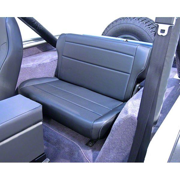 Rugged Ridge Fold & Tumble Rear Seat - Black Vinyl (87-95 Jeep Wrangler YJ)
