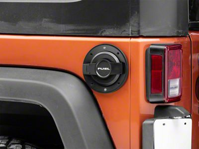 Drake Off Road Billet Non-Locking Fuel Door - Black (07-18 Jeep Wrangler JK)