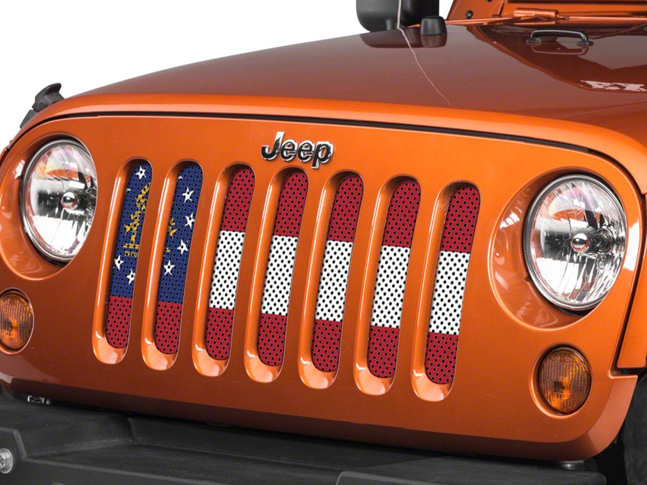 Under the Sun Grille Insert - Georgia State Flag (07-18 Jeep Wrangler JK)