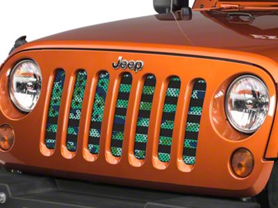 Under the Sun Grille Insert - Blue Green Camo Stars and Stripes (07-18 Jeep Wrangler JK)