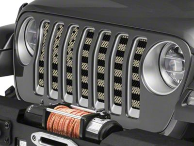 Under the Sun Grille Insert - Desert Tan Old Glory Black Stars and Stripes (2018 Jeep Wrangler JL)