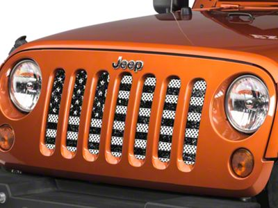 Under the Sun Grille Insert - Distressed Black and White (07-18 Jeep Wrangler JK)
