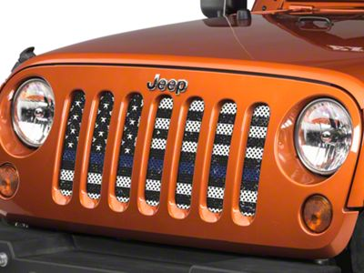 Under the Sun Grille Insert - Distressed Black and White Thin Blue Line (07-18 Jeep Wrangler JK)
