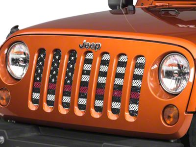 Under the Sun Grille Insert - Distressed Black and White Thin Red Line (07-18 Jeep Wrangler JK)