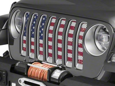 Under the Sun Grille Insert - Distressed Old Glory (2018 Jeep Wrangler JL)