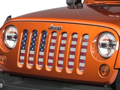 Under the Sun Grille Insert - Distressed Old Glory (07-18 Jeep Wrangler JK)
