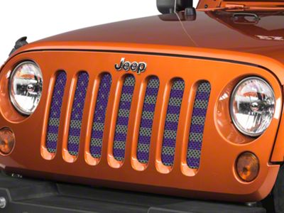 Under the Sun Grille Insert - Distressed Purple and Silver (07-18 Jeep Wrangler JK)