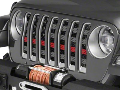 Under the Sun Grille Insert - Distressed Thin Red Line (2018 Jeep Wrangler JL)